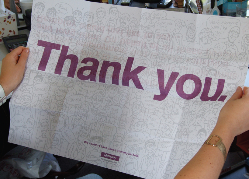 Remploy staff thank you mailer
